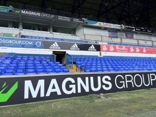 Magnus Group branding at Ipswich Town Football Club's Portman Road stadium